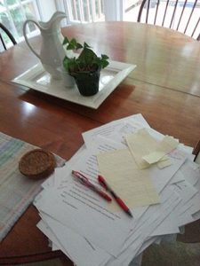 table during editing process