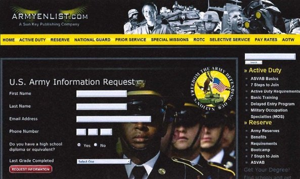 fake army enlist site scam